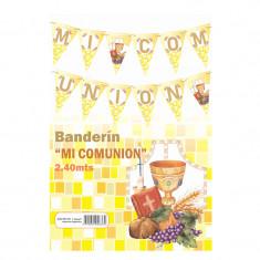Banderin Grande Mi Comunion -3344-7 -gold Mundo-2.40 Mts-
