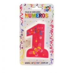 Velas Numero 1 Feliz Cumpl. X U Rosa