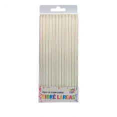 Velas Finita Gibre Larga Blanca X 12 - -party Store-