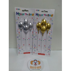 Vela Globo X 4 Dorado/plateada -blister-happy Birthday-candles