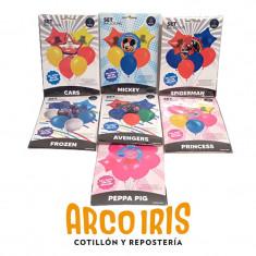 Globos Set Personajes   -6/7 Piezas-set Balloons-peppa Pig-frozen-princess-mickey-cars-avengers-spiderman-