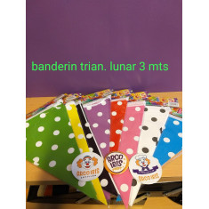 Banderin Triang. C/ Lunar 3 Mts. Vs. Colores -party Flags-