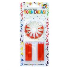 Velas Torneadas Roja-blanca X 24 C/ Portavela Party Store-futbol River