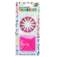 Velas Torneadas Magenta X 24 C/ Portavela Party Store-
