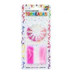 Velas Torneadas Fuc-bla-rosa X 24 C/ Portavela Party Store-
