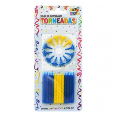 Velas Torneadas Azul-amarilla X 24 C/ Portavela Party Store-futbol Boca
