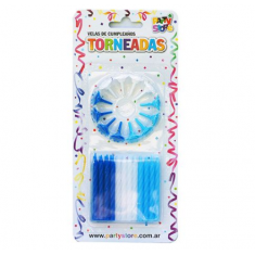 Velas Torneadas Cel-bla-azul X 24 C/ Portavela Party Store-