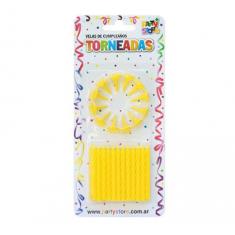 Velas Torneadas Amarilla X 24 C/ Portavela Party Store-