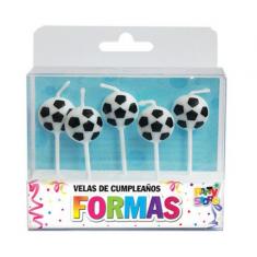 Velas Con Formas Pelota Futbol X 5