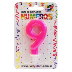 Velas Numero Rosa C/ Brillo X U Party Store