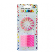 Velas Rayadas Rosas X 24 C/ Portavela Party Store