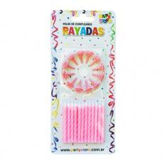 Velas Rayadas Rosa X 24 C/ Portavela Party Store