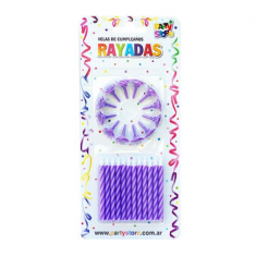 Velas Rayadas Violeta X 24 C/ Portavela Party Store