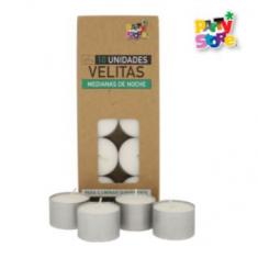 Noche Vela X 10 -velitas Medianas 2.50cm -party Store-