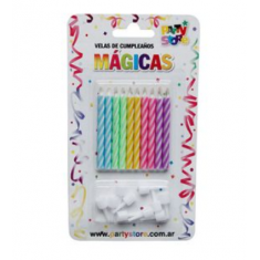 Velas Torn.magicas X 10 Multicolor Party Store C/ Portavela