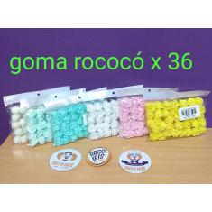 Goma Rococo C/tull X 36 - Blanco - Natural - Verde Agua - Aqua - Rosa  - Amarillo