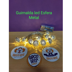 Guirnalda Led Esfera Metal X  2 Mts -plateada-dorada-