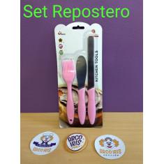 Set Repos. Pincel -espatula Y Cuchillo -kitchen Tools-