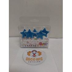 Vela Estrella X 5 Celeste-blister-party-candles