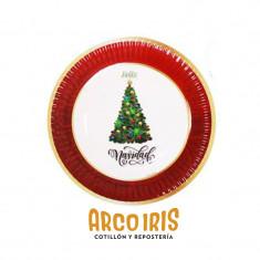 Plato 17 Navidad X 6 U.  Feliz Navidad-nuñecos-arbolito-