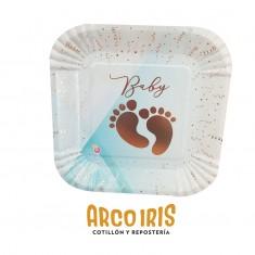 Platos Baby Celeste Stamp X 8 Cuadrados Carton - Otero