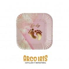 Platos Baby Rosa Stamp X 8 Cuadrados Carton - Otero