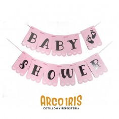 Banderin Baby Shower Xu - Rosa C/stamping                                                  Gold Mundo