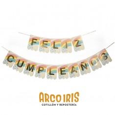 Banderin Feliz Cumpleaños Xu - Arco Iris                                                         Gold Mundo