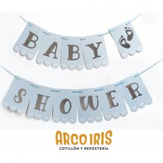 Banderin Baby Shower Xu - Celeste C/stamping                                             Gold Mundo