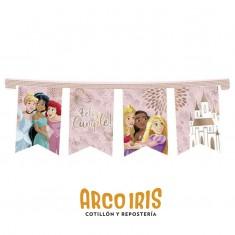 Princesas Co Banderin Articulado Xu - Feliz Cumpleaños