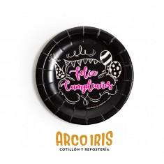 Plato Feliz Cumpleaños Negro Stamp X 8 Cuadrados Carton - Otero