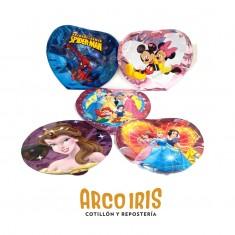 Mylar 09 Autoinflable X 10 - C/ Portaglobo X U. Redondo-corazon- Princesas - Minnie Y Mickey - Hombre Araña Spiderman - Hap