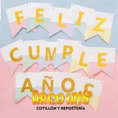 Banderin Feliz Cumpleaños C/stamping Bicolor X U Mas De 5 Un 10% De Des.-varios Colores