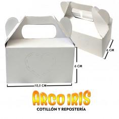 Caja Bombon-caramelera 10.5x6x6cm X U. - Blanca-corazon Calado