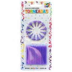 Vela Torneadas Violeta X 24 C/ Portavela Party Store-