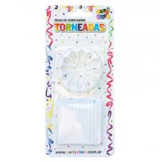 Vela Torneadas Blancas X 24 C/ Portavela Party Store-