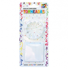 Velas Torneadas Blancas X 24 C/ Portavela Party Store-