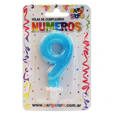 Velas Numero Celeste C/ Brillo X U Party Store