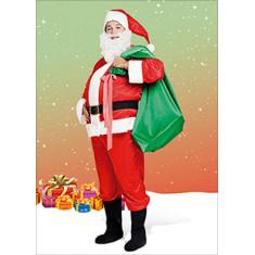 Disfraz Papa Noel Acetato C/piel Barba/gorro Y Botas De Cuerina Xu -candela Navidad Halloween