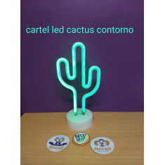 Cartel Led Cactus Contorno