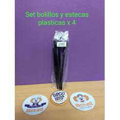 Set Bolillos Y Estecas Plasticas X 4